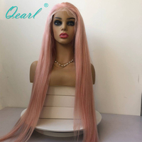 Full Lace Wig Human Hair Wigs Pink Color Transparent Lace Free Part Brazilian Straight Remy Hair with Baby Hairs Thick Qearl