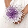 Romántico Púrpura de Cristal de Color Rosa Ramo De La Boda Ramo de Novia Ramo de Novia Dama de honor de la Flor Hecha A Mano Con Cuentas Ramo Artificial