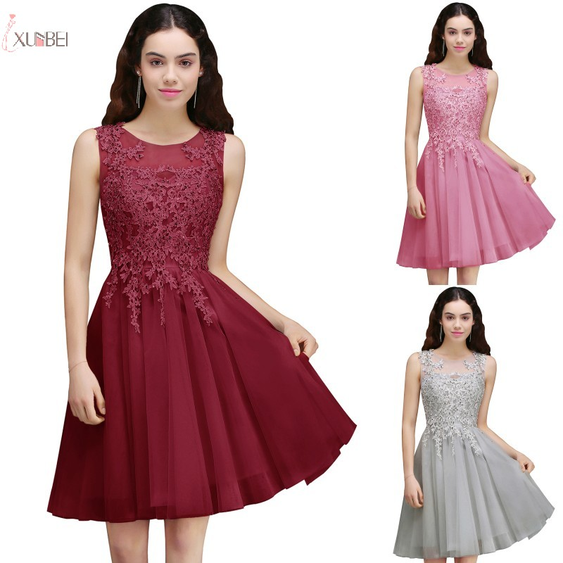 2019 Pink Burgundy Tulle Short   Bridesmaid     Dresses   For Wedding Party Lace Applique Sleeveless vestido madrinha