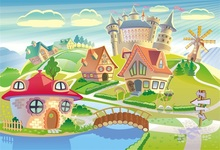 цены на Laeacco Baby Party Cartoon Village Castle River Field Photography Backgrounds Customized Photographic Backdrops For Photo Studio в интернет-магазинах