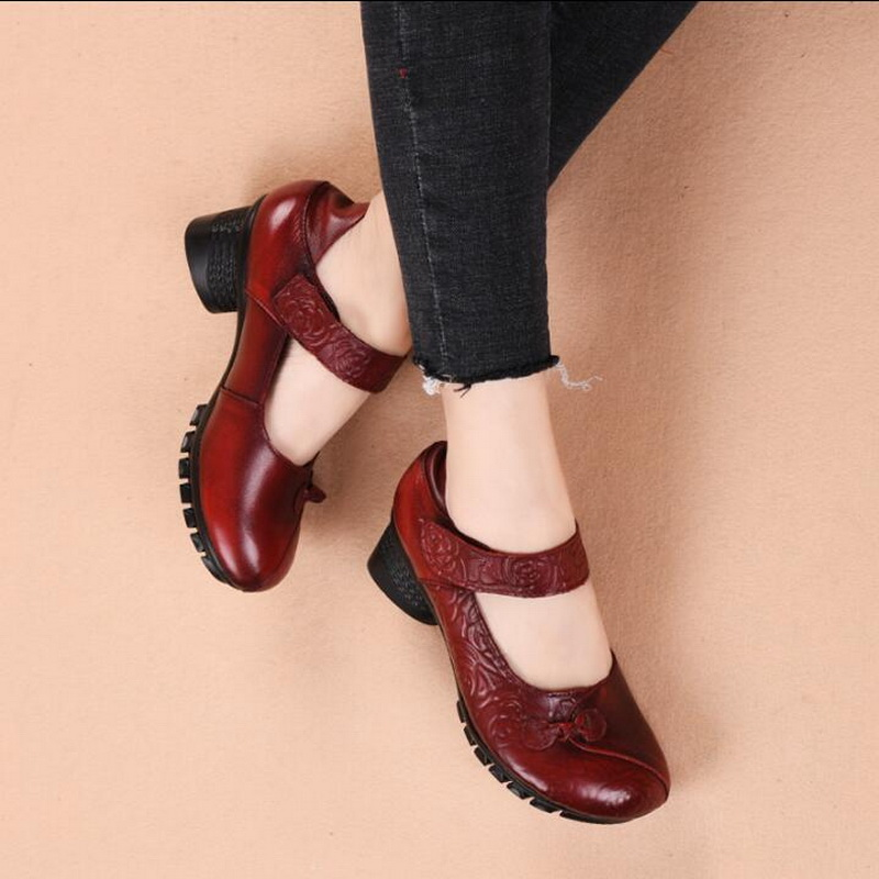 RUSHIMAN Women Flats Genuine Leather Female Shoes Loafers Round Toes Casual Vintage Mother Shoes