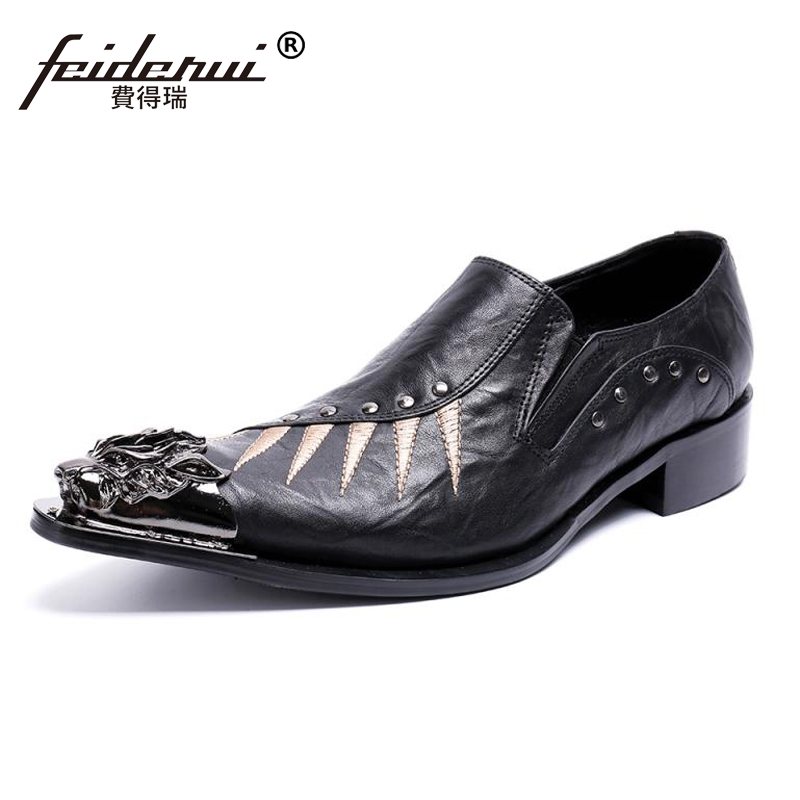 Plus Size New Genuine Leather Metal Tipped Man Casual Loafers Pointed Toe Slip on Studded Men's Banquet Wedding Shoes SL419 недорго, оригинальная цена