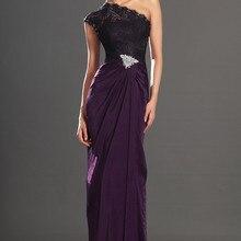 ; дизайн; элегантные, на одно плечо высокого Разделение шифоновое кружевное вечернее платье