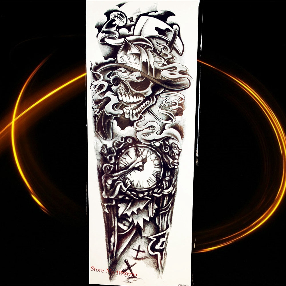 Smoke Tattoo Filler: 25 Style Smoking Ghost Skull Temporary Tattoo Old Clock