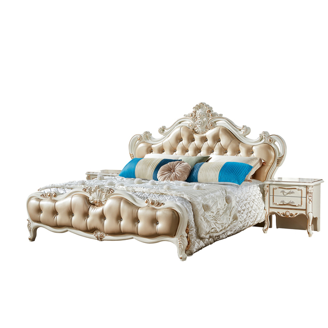 Hot Sale White Bedroom Furniture Latest Double Mdf Bed Design In