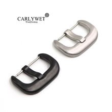 CARLYWET 24mm New 316L Stainless Steel Black Silver Brushed 4.25mm Tang Tongue Pin Watch Buckle For Seven Friday Panerai