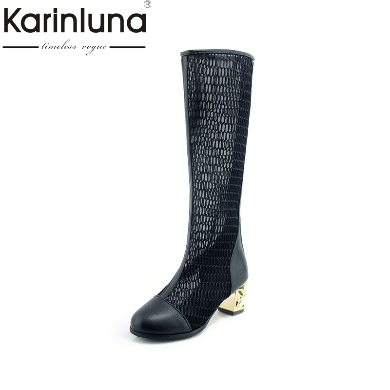 KARINLUNA Brand Design Square High Heels Zip Shoes Woman Casual Spring Summer Popular Boots Black Plus Size 33-46