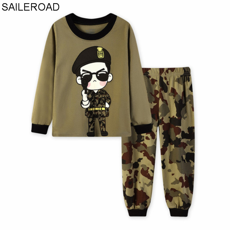 SAILEROAD Children Cartoon Cool Soldier   Pajamas     Sets   Boys Sleepwear Suit Kids Long Sleeve T Shirt+Pant Baby Cotton Clothes   Set