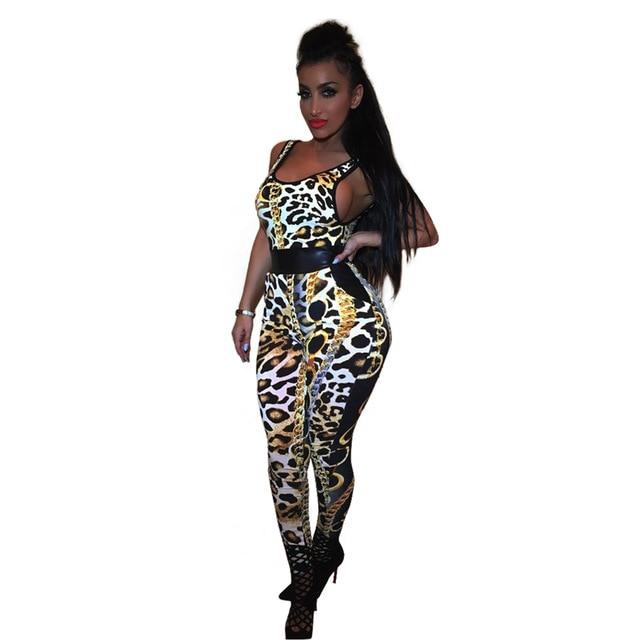 Мода Sexy Leopard Печати Комбинезоны 2016 Хэллоуин День женская Сексуальная Рукавов Бинты Комбинезон Тощий Длинный Брюки