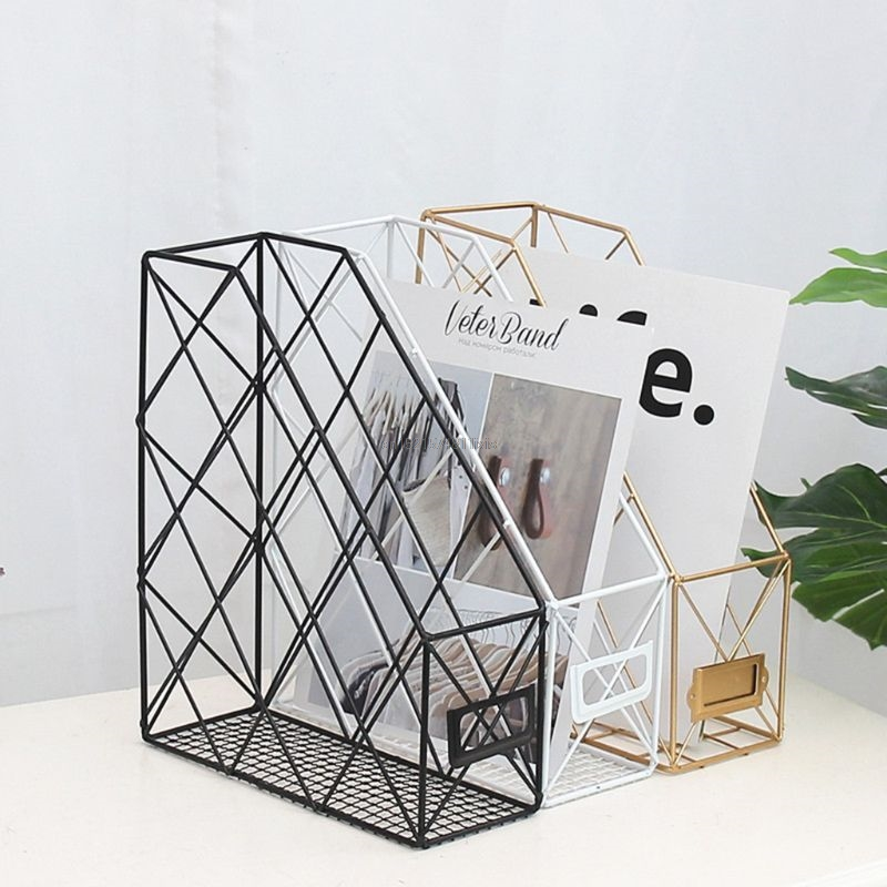 Desk Accessories & Organizer Office & School Supplies Responsible Magazine Holder Desktop Book Storage Rack Iron Triangular Bookshelf Organizing Shelf Bookcase New Magazine Organizer