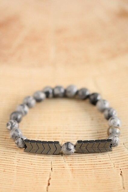 Natural Gray Map Stone 8mm Beads Strand Bracelets With Stones Hematite Beaded Arrow Charms Bracelet Men Jewelry Mala Bracelets