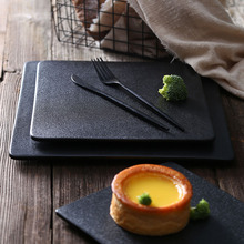 Японский черный керамика S чай k тарелка чайный поднос для пиццы поднос для суши тарелка для спагетти для суши место Ресторан дома отель