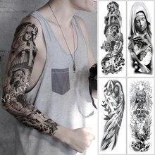 Large Arm Sleeve Tattoo Cross Angel Hymn Waterproof Temporary Sticker Psalm Wing Saint Men Full Skull Totem Tatoo