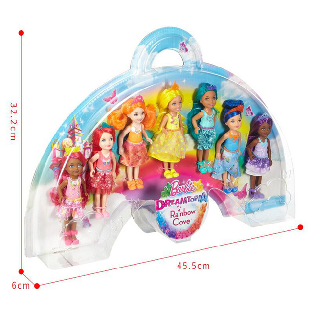 Collective Rainbow Plastic Barbie Dolls 7 pcs Set