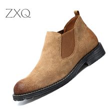 купить Chelsea Boots Men Cow Suede Leather Autumn Winter Fashion Ankle Slip On Boot Men's Rubber Sole Brand Leather Boot Shoes дешево