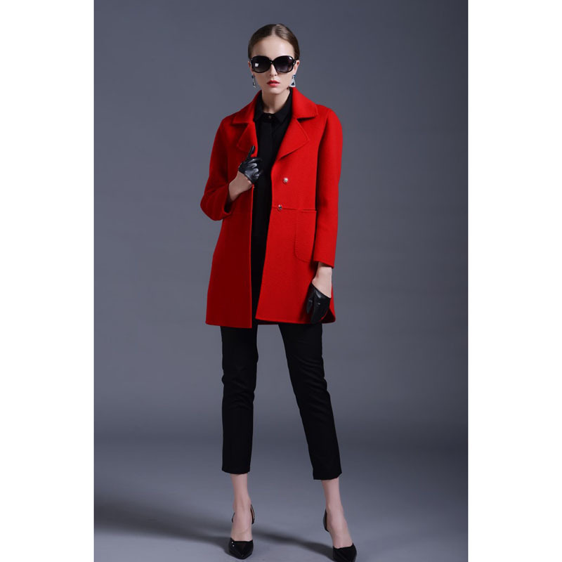 Winter Long Coat Wool Long Red Coat Covered Buttons Wool Jacket ...