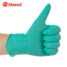 ABESO NBR latex durable lengthen disposable gloves  100 pcs for food home clean Acid Alkali resistance antiskid golves A7110