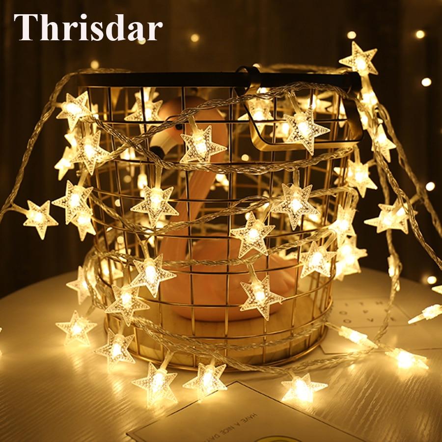 Thrisdar 8 Modes LED Star String Lights 10/20/30/50M LED Fairy Light Christmas Wedding Decoration Light 220V EU Twinkle Garland