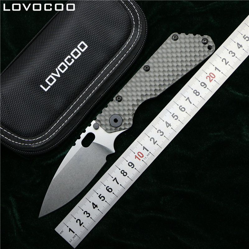 LOVOCOO SMF Folding Knife D2 blade Titanium Nudist Pits handle Copper washer kitchen outdoors hunting utility