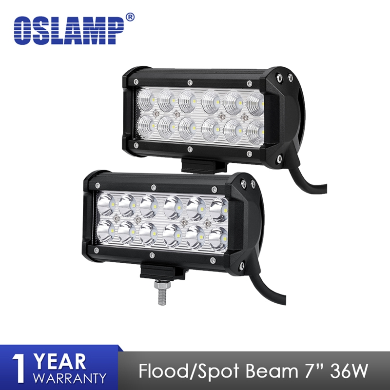 Oslamp 36W Flood Spot Beam LED Work Light Bar Offroad 7 12V 24V 4x4 4WD Truck