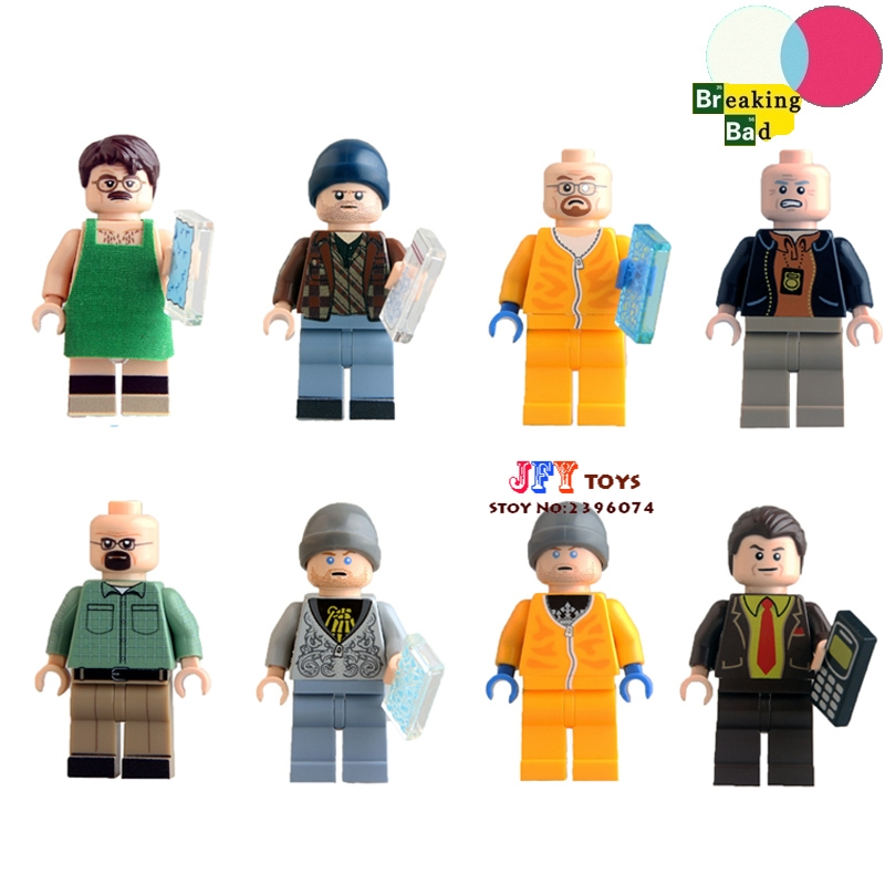 8pcs Star wars super heroes Breaking Bad Badger Jesse Pinkman Hank Schrader Saul kits building blocks toys for children juguetes