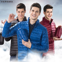 VERSMA Men Winter Jacket Ultra Light 90% White Duck Down Jackets Parkas Casual Portable Winter Coat Men Down Parka Plus Size 4XL