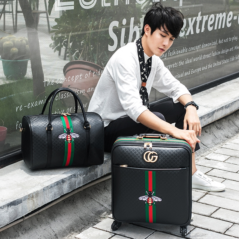 New Fashion 16/20/24 Size 100%PU Rolling Luggage Spinner Brand Travel Suitcase Women Boarding Luggage Carry On Wheels Trunk