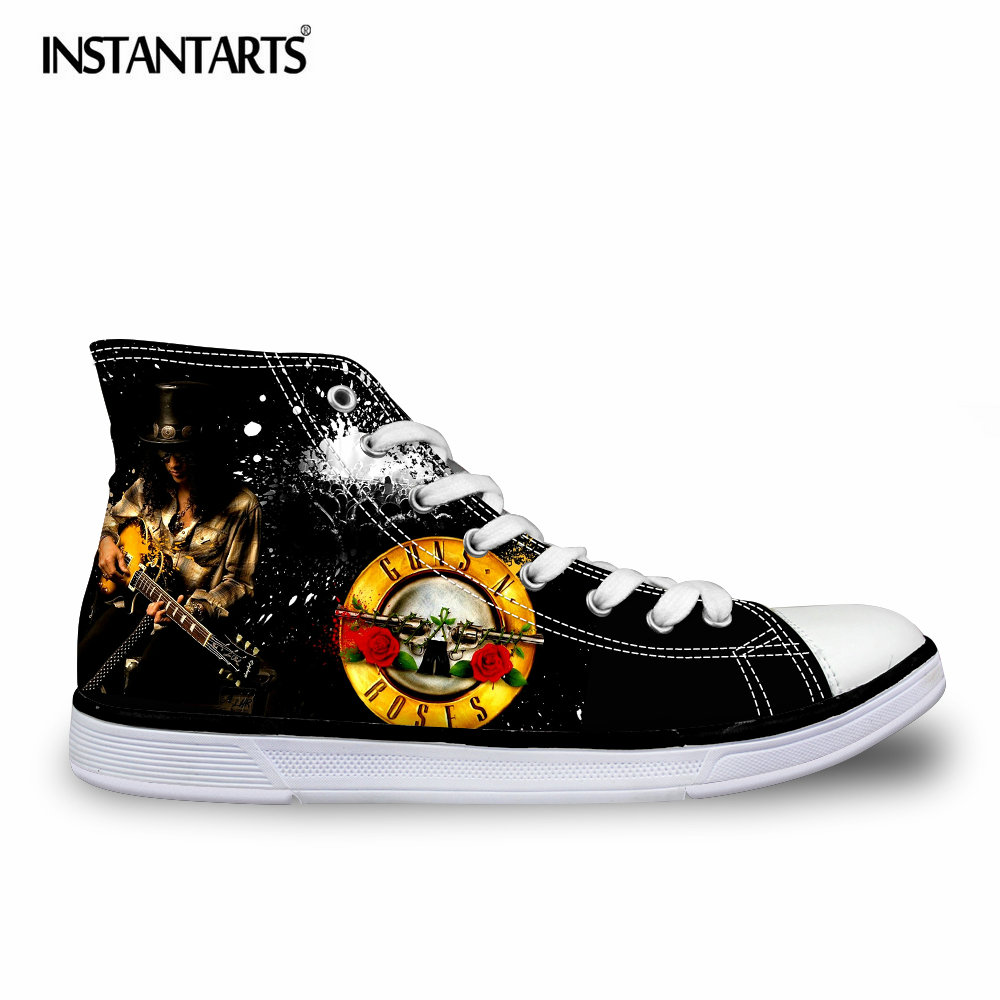 INSTANTARTS Classic High Top Men's Vulcanize Shoes Hip Hop Guns N Rose Printed Man Canvas Shoes Breathable Lacing Sneakers Boys high quality mens jeans ripped colorful printed demin pants slim fit straight casual classic hip hop trousers ripped streetwear