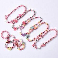 Детское разноцветное деревянное ожерелье-браслет с бабочкой, совой, лисой для девочек, детское длинное ожерелье из бисера