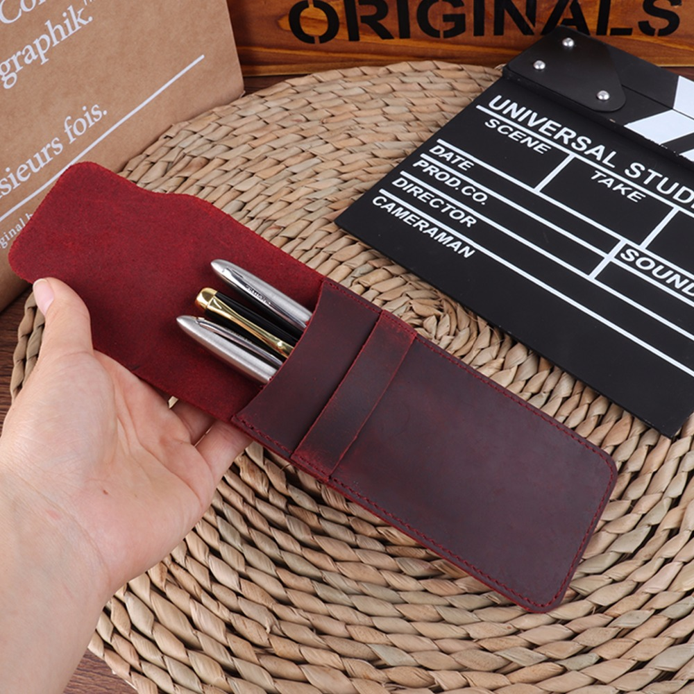 Pencil Case Handmade Genuine Leather Pen Bag Cowhide Pencil Bag Vintage Retro Style Accessories For Travel Journal Free Shipping