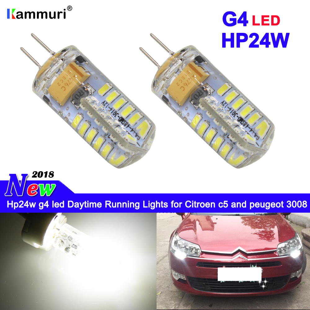 2pcs white G4 Hp24w 34smd 12V g4 led bulbs Daytime Running Lights for Citroen c5 and for peugeot 3008 DRL Day Light in Signal Lamp from Automobiles Motorcycles