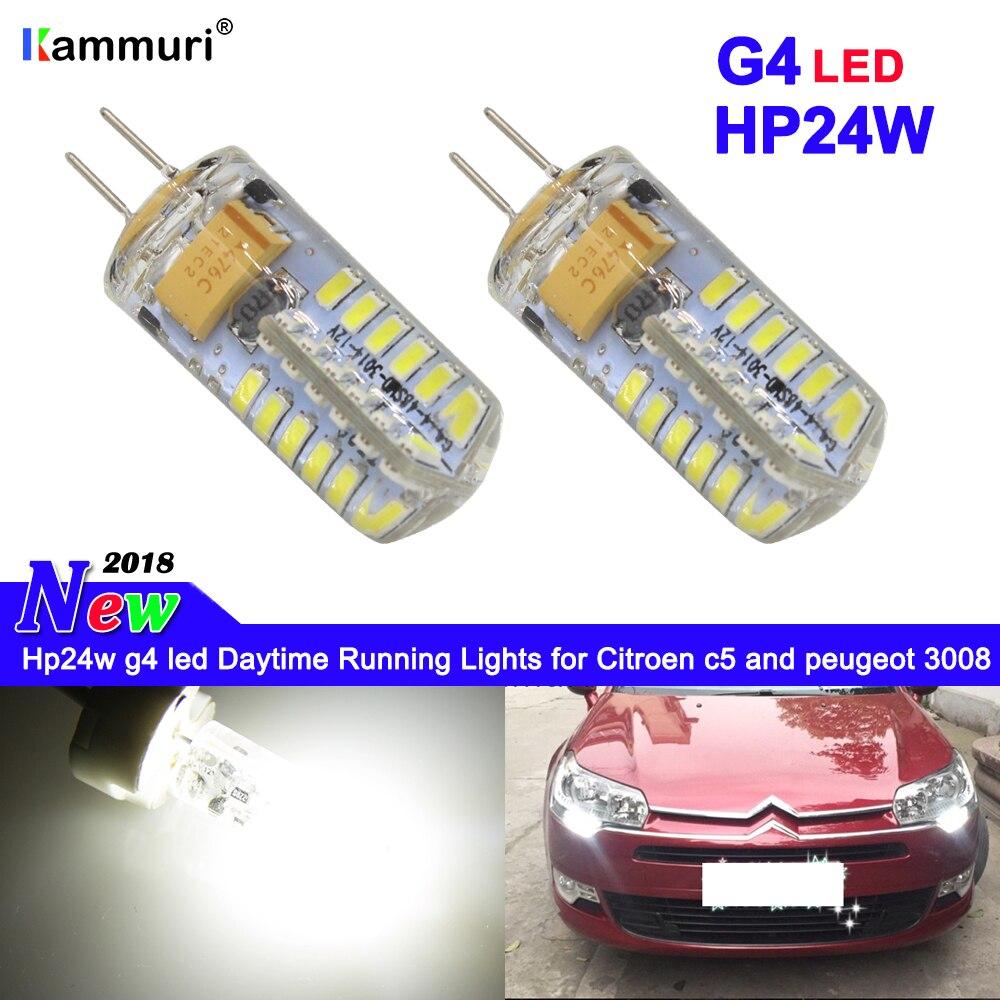 pcs branco g4 hp24w 2 12 v 34smd g4 lampadas led luzes diurnas para c5 citroen