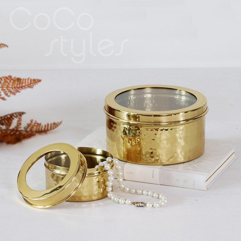 Cocostyles InsFashion boîte à bijoux ronde en or fait main de luxe pour homme riche décor à la maison 2020 nouvel an