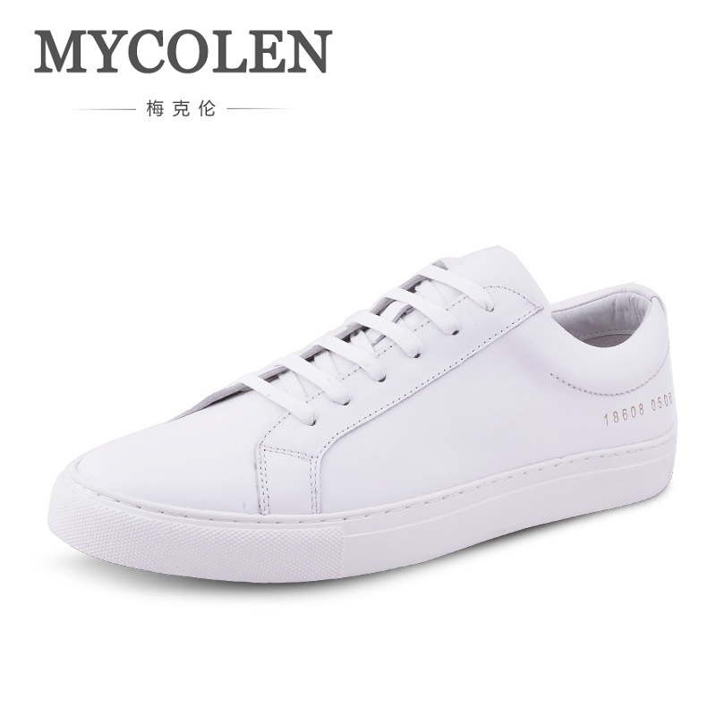 MYCOLEN Men's Autumn Leisure Flat Shoes Fashion Outdoor Brand Lace Up Round Toe Board Shoes Breathable Men White Shoes