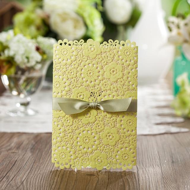 Personzlied Lemon Color Wedding Invitation Card Lace Flower