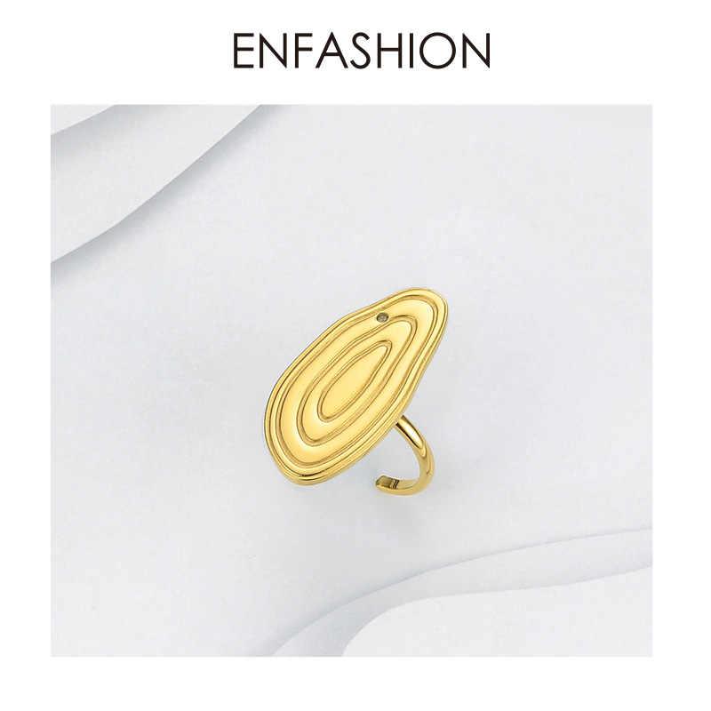 Enfashion ปีแหวนผู้หญิงทองสแตนเลสสตีลประจำปีแหวนแฟชั่นปรับเครื่องประดับ Anillos Mujer 2019 R184008