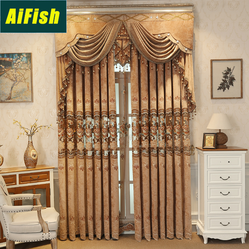 Luxury Insulated Hollowed Brown Blackout Curtains For
