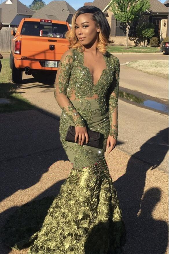 Green Robe De Soiree 2019 Mermaid Deep V-neck Long Sleeves Flowers Appliques Beaded Long   Prom     Dresses     Prom   Gown Evening   Dresses