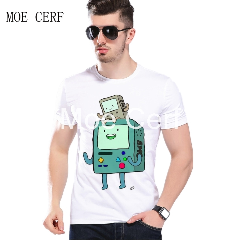 Funny Mens T Shirts Summer Hipster Adventure Time Game consoles BMO Daddy Carrying The Child Play Video Games Men T-shirtL1-A-32
