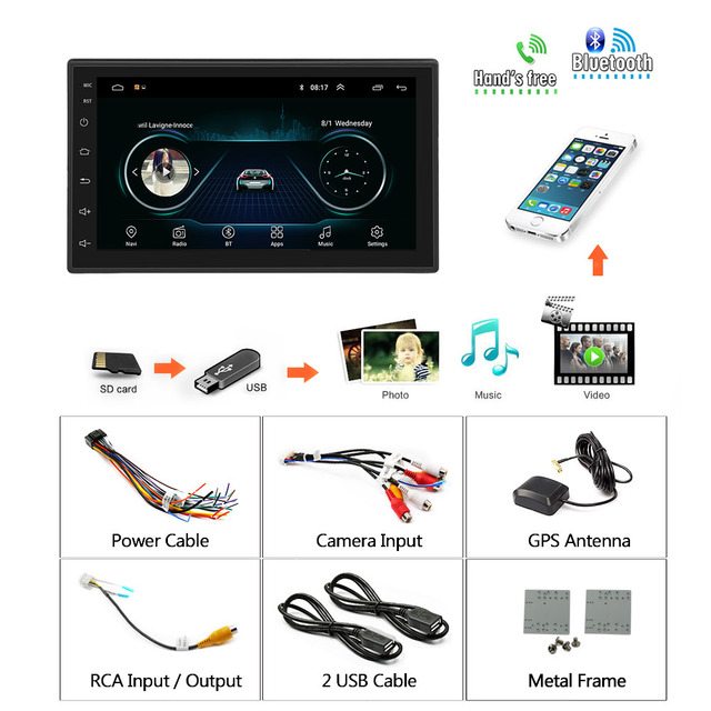 Podofo 2din Car Radio Android multimedia player Autoradio 2 Din 7'' Touch screen GPS WIFI Bluetooth FM auto audio player stereo 4