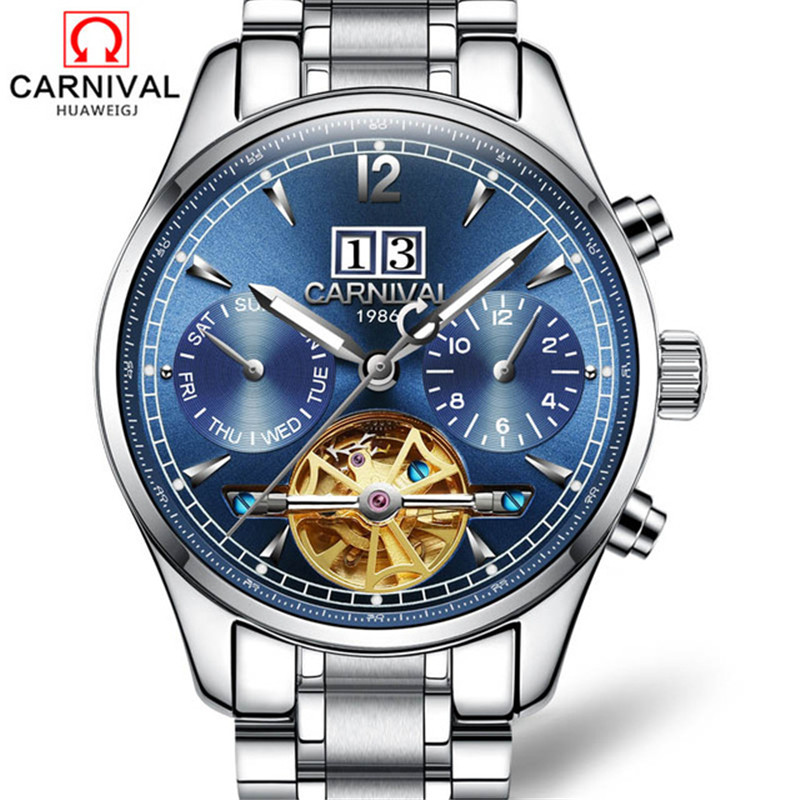 Carnival Fashion Mens Watches Top Brand Luxury Tourbillon Mechanical Watches Business Automatic Watch Men Clock montre femme mens watches top brand luxury round steel case business watch men sport tourbillon mechanical watch fashion clock new horloge