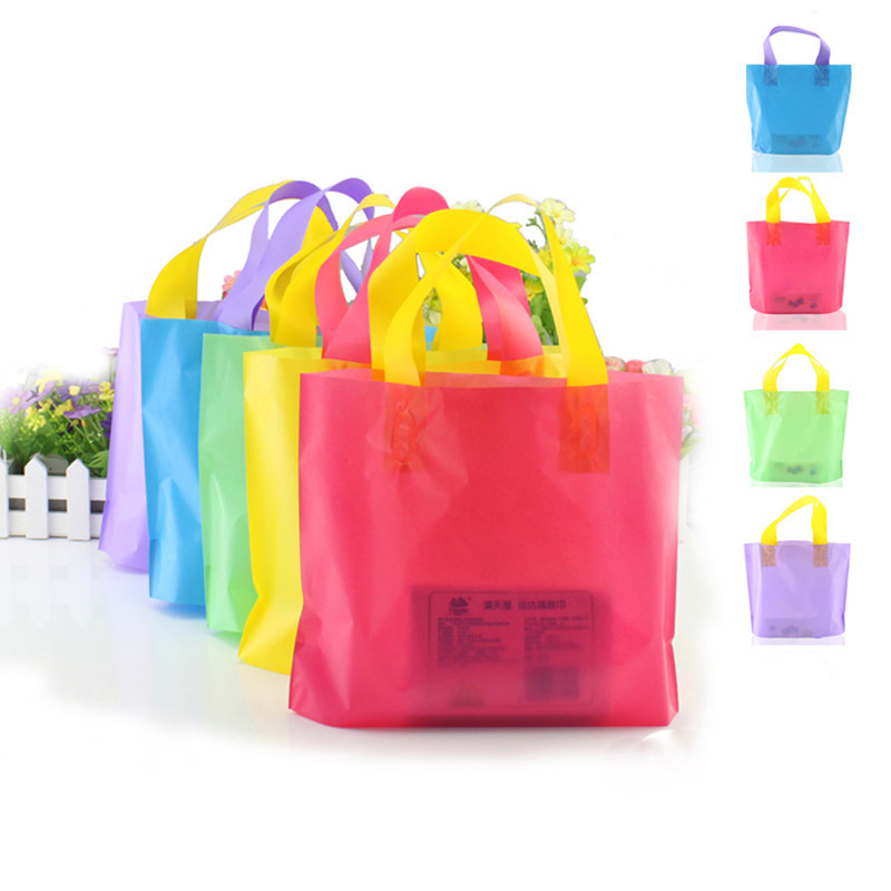 50pcs/lot 3 sizes Reticule bag Snacks bag thickening plastic color gift wrapping shopping cosmetic bag candy decoration