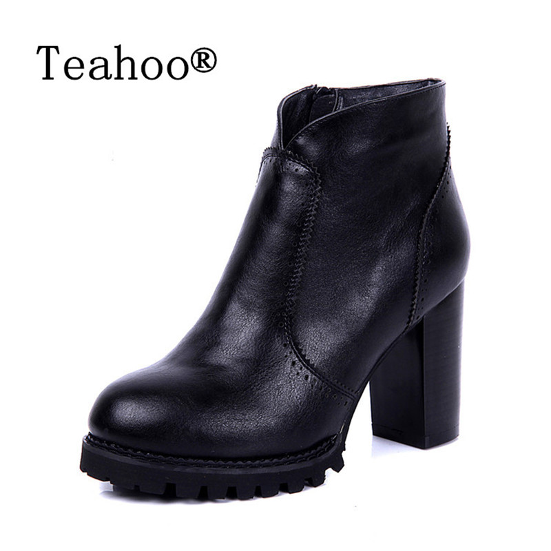 2017 Spring Autumn shoes Women Boots Platforms Square Heel Ankle Boots Fashion Motorcycle Boots Female Round Toe Martin Boots euro style spring autumn women ankle boots platforms square heel ankle boots lace up fashion motorcycle boots martin shoes