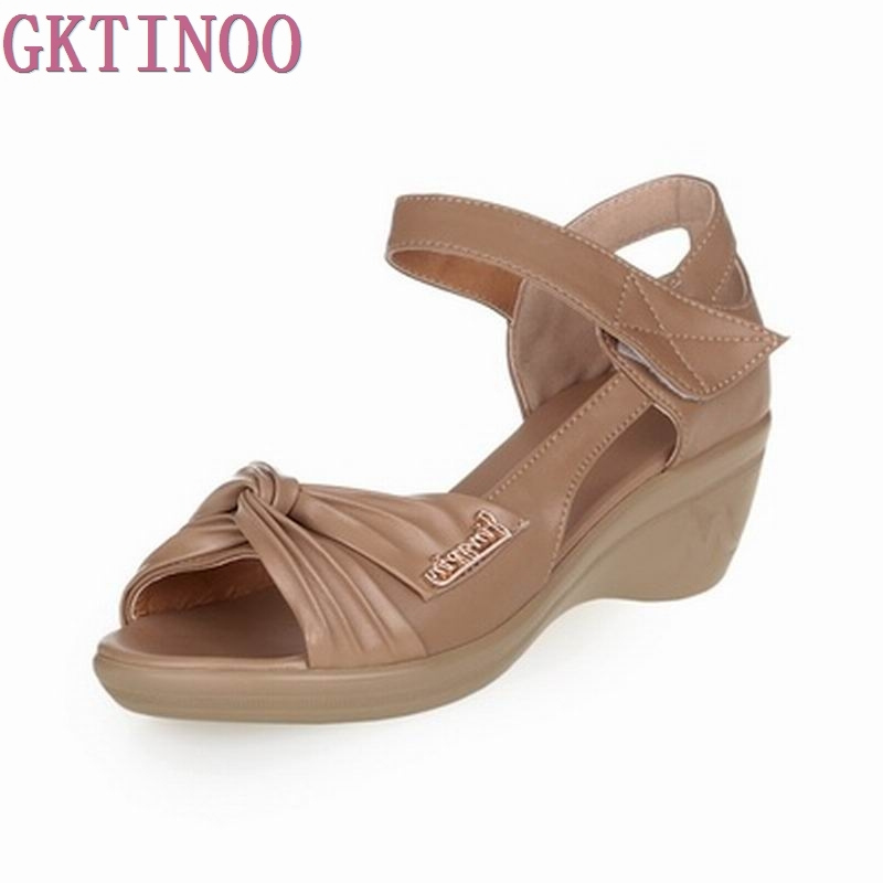 Summer Shoes Woman Genuine Leather Soft Outsole Open Toe Sandals Casual Wedges Women Shoes 2017 New Fashion Women Sandals