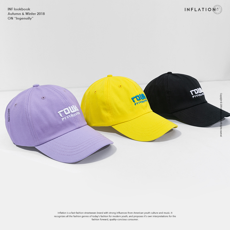 96116869f INFLATION Letter Embroidery Baseball Cap Street Style Fashion Baseball Cap  2018 Men Snapback Hat For ...