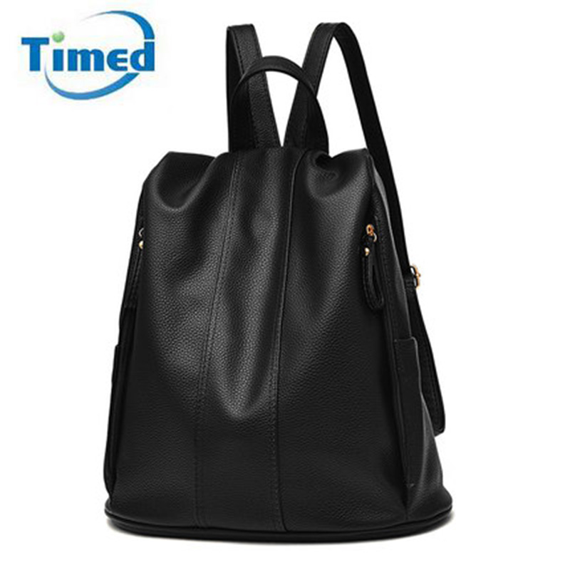 New Fashion Women s Backpacks Casual High Quality Pu Leather Bags Big Capacity Travel Backpack For