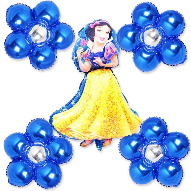 5pcs Foil Balloons Princess White Snow Air With Flowers For Girl Birthday Party Decoration