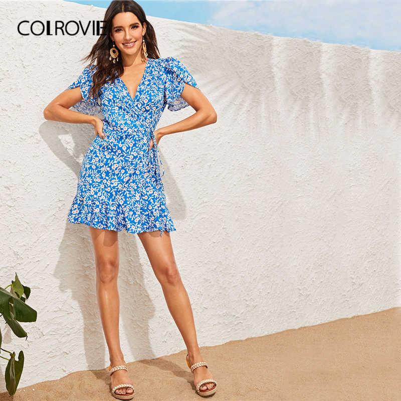 COLROVIE синий V образным вырезом рукава-крылышки галстук-бабочка с поясом Flippy Обёрточная бумага платье в богемном стиле женская одежда 2019 летние каникулы, отпуск короткие платья