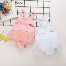 B&N Cotton Solid Baby Girls Swimsuit Summer Bikini Two Piece Cute Little Angel Wings Toddler Infant Romper Swimwear With Hat