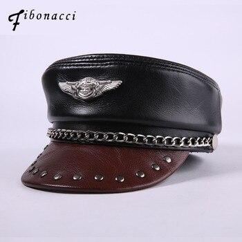 Fibonacci Brand Quality Genuine Leather Black Military Cap Cowhide Flat Hats for Women Men Caps